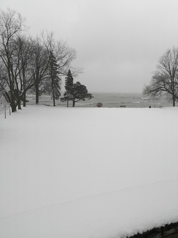 Beautiful snow Paletta Lakefront Park and Mansion, ON