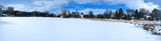 Snow covered Oakbank Pond Thornhill, ON