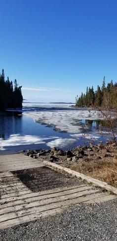 wow lake nipigon still has ice on it Nipigon, ON