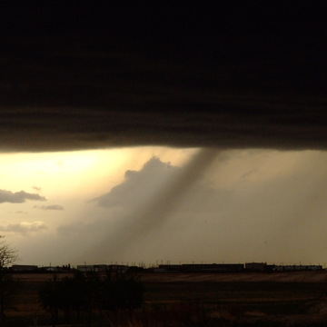 Hail Shaft in Warned T-Storm line