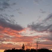 Les nuages bordés d' orangés.