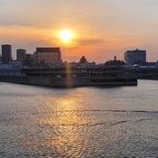 coucher de soleil sur l'île de Montréal