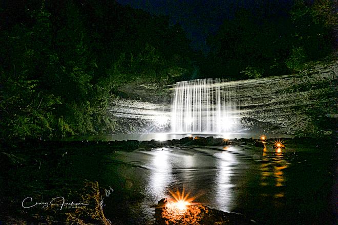Bridal veil falls lit up at night Kagawong, ON