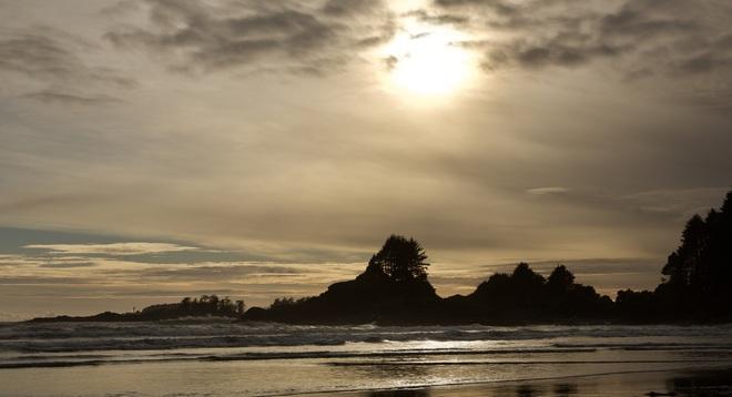 Setting sun over Cox Bay Tofino Courtenay, BC