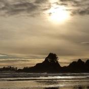 Setting sun over Cox Bay Tofino