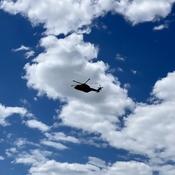 Rescue chopper silhouette