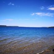 blue skies, blue waters