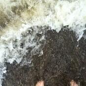 Les pieds dans une vague