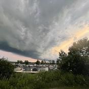 Shelf cloud at dusk