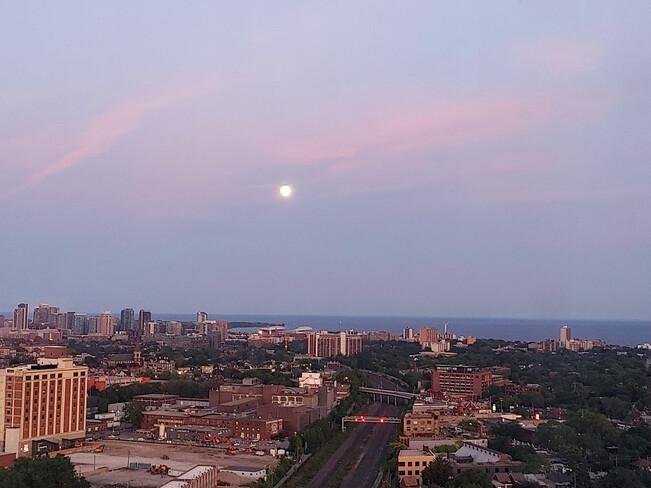 Full Moon at sunset Toronto, ON