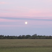 Moon rise at sunset
