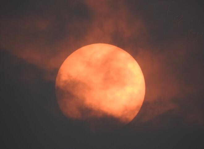 Smog Trois-Rivière, Soleil de feu en après-midi,,, Trois-Rivières, QC