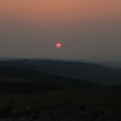 Sunset obscured by smoke