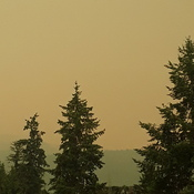 Smoke from 2 Mile creek fire and others over Owlhead Mtn