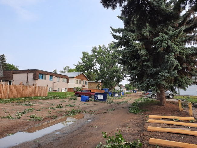 Evidence of wind damage in alley North Red Deer, AB