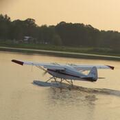 Landing on the lake.