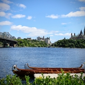 A view of Parliament hill from the river in front of the Museum of Civilization