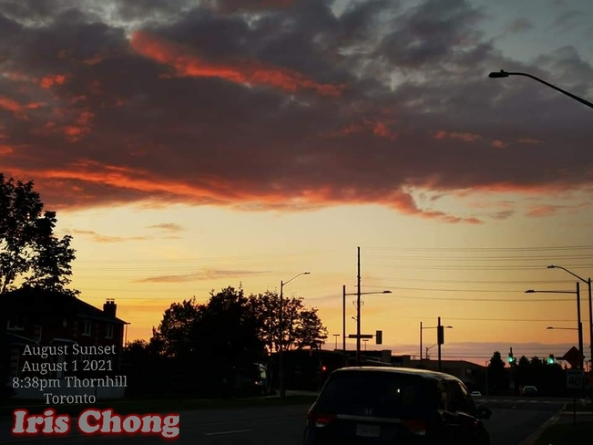 August 1 2021 8:38pm August sunset amid rain showers in Thornhill Toronto Thornhill, ON