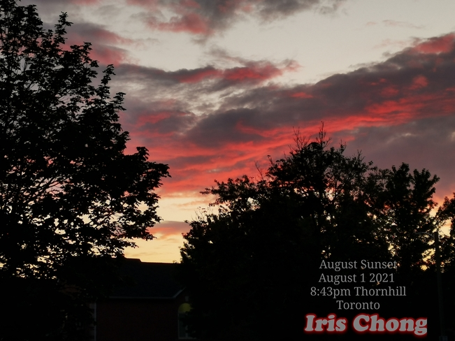 August 1 2021 8:43pm August sunset amid rain showers in Thornhill Thornhill, ON