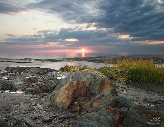 Coucher de soleil sur le fleuve Rimouski, QC