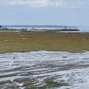 Le quai et arrière plan l'île aux Basques