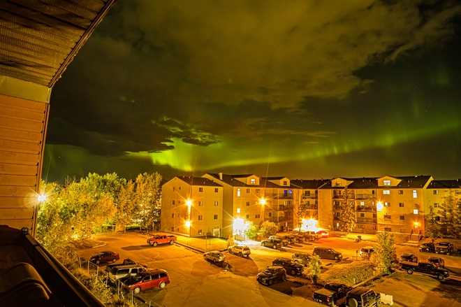 Clouds and northern lights. Fort McMurray, Alberta, CA