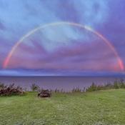 Arc-en-ciel à la brunante ce soir, Pointe-Paradis, Manicouagan