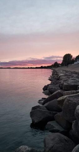 Couché de soleil rosé Champlain, Québec, CA