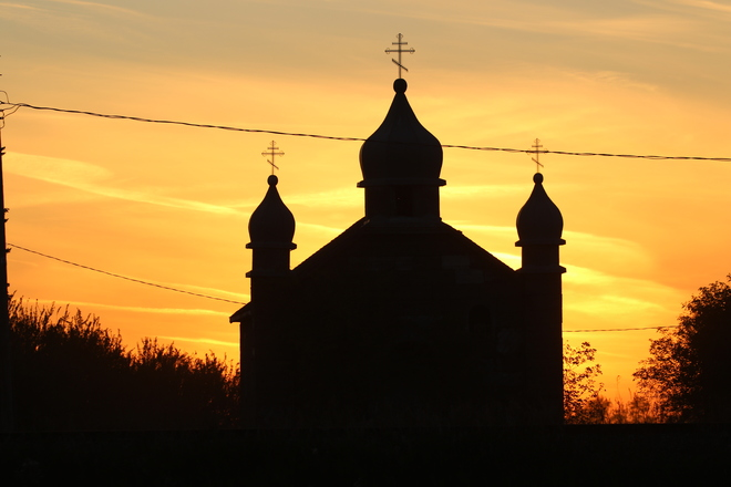 Many sunsets have been seen by this church… Fosston, SK