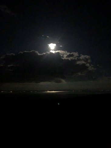 Moonrise over the St Lawrence La Malbaie--Pointe-au-Pic, Quebec, CA