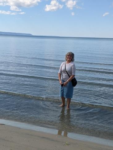 Getting her feet wet on Wasaga beach Wasaga Beach, ON