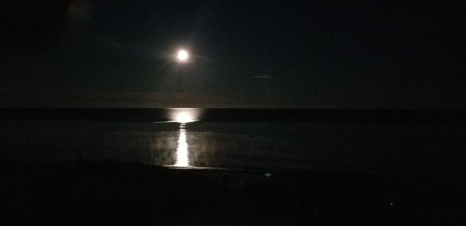 Moon...4:30 am over Amberley Beach Amberley, ON