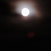 Moon reflecting on the Clowds