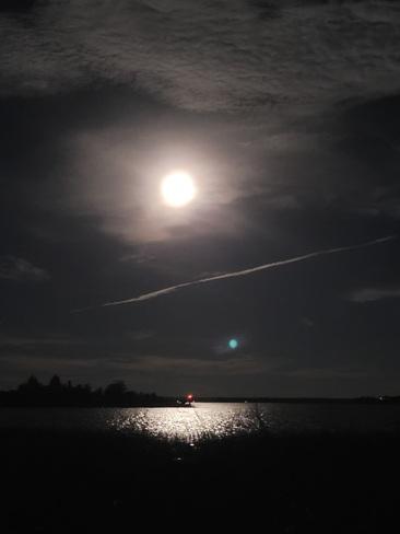 Harvest moon on the rive Mallorytown, ON
