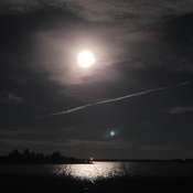 Harvest moon on the rive