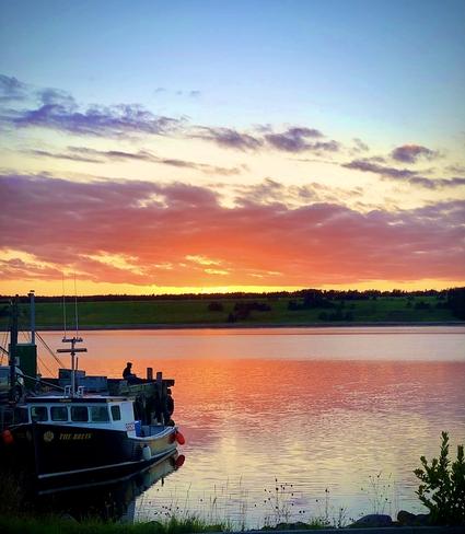 Fishing at sunset Chéticamp, Nova Scotia, CA