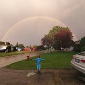 Danielle and the double rainbow