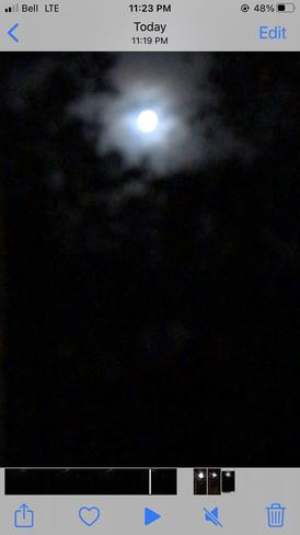 Hue around the Full Moon Almdals Cove, Manitoba, CA