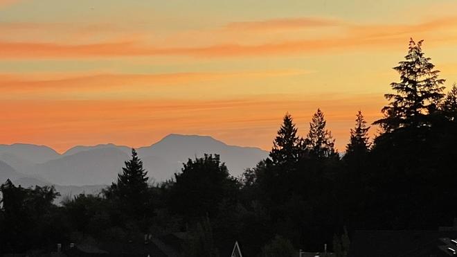 Sunrise over the mountains Chilliwack, British Columbia, CA
