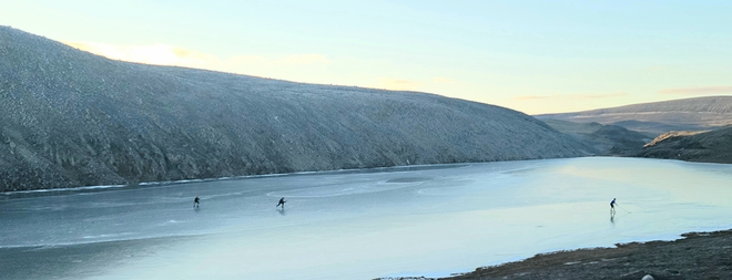 It's never too early for outdoor hockey! Arctic Bay, Nunavut