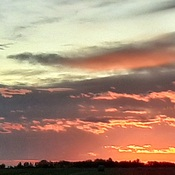 sunset over bales