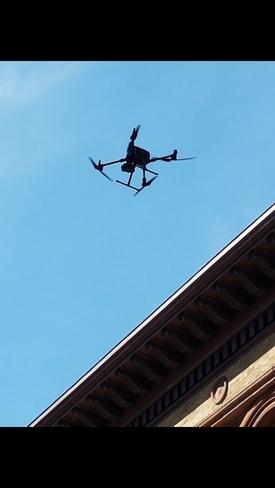 Drone Hovering Under Blue Sky Montréal, QC