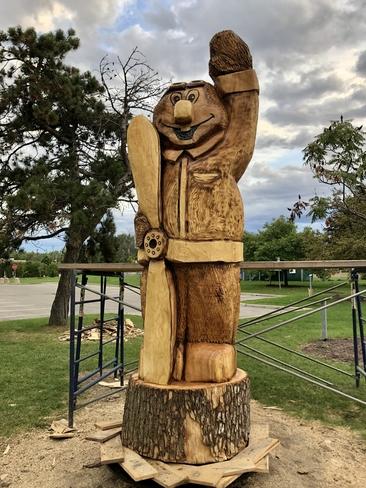 Dorval mascot sculpted from dead ash tree!! Dorval, Quebec, CA