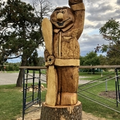 Dorval mascot sculpted from dead ash tree!!