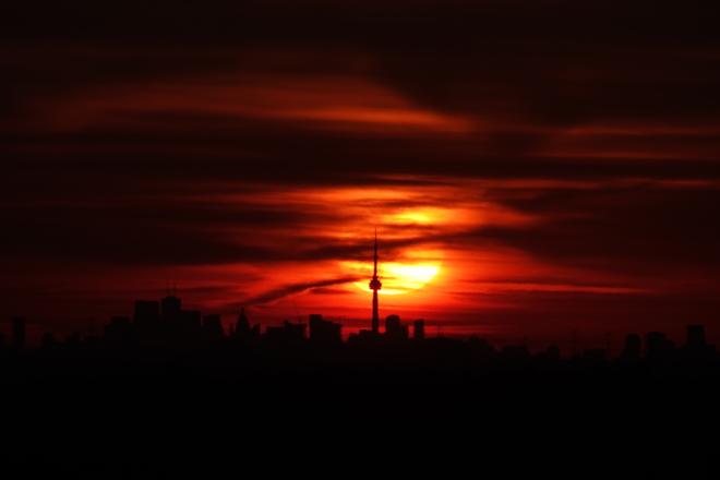 Sunrise Behind the CN Tower Georgetown, Halton Hills, ON