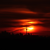 Sunrise Behind the CN Tower
