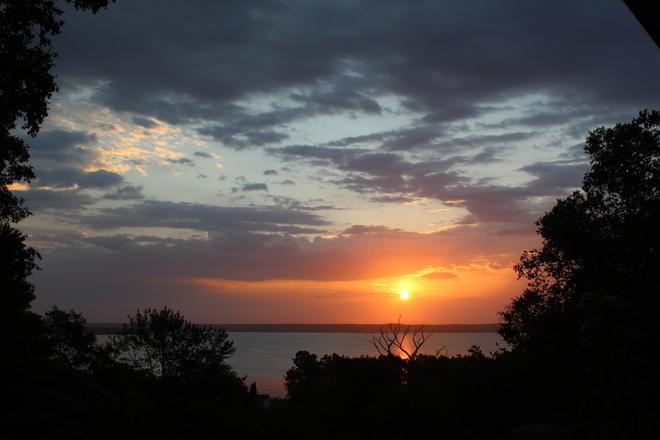 Ominous Looking Sunrise Over Shelburne Harbour Churchover, Nova Scotia