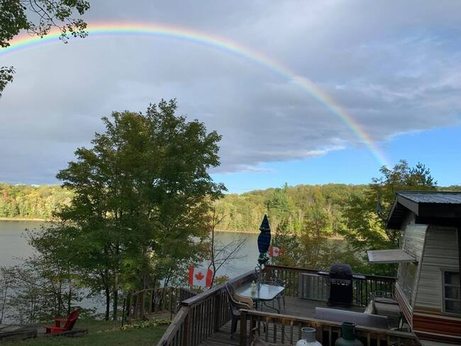 Rainbow at the cottage Crowe Lake, Marmora and Lake, ON
