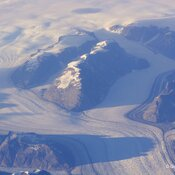 Greenland's glaciers from a transatlantic flight