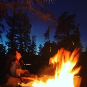 Sitting by the fire in October